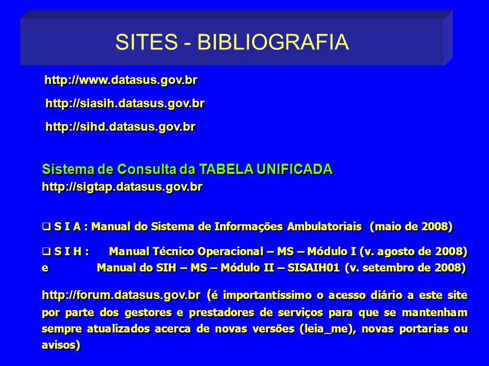 SITES - BIBLIOGRAFIA http://www.datasus.gov.br. http://siasih.datasus.gov.br. http://sihd.datasus.gov.br.