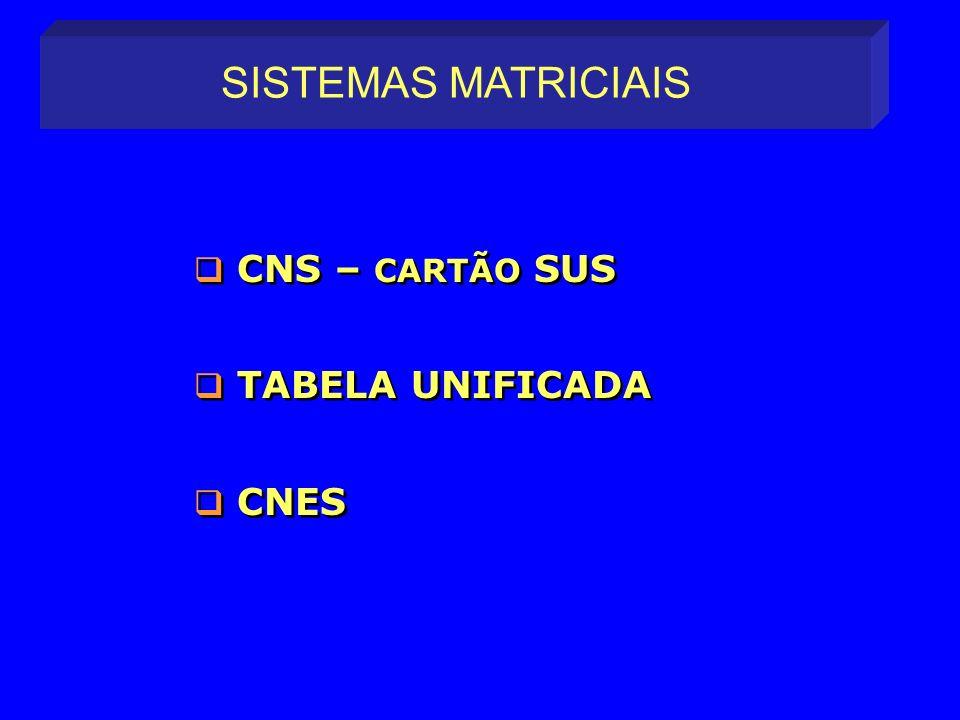SISTEMAS MATRICIAIS CNS – CARTÃO SUS TABELA UNIFICADA CNES