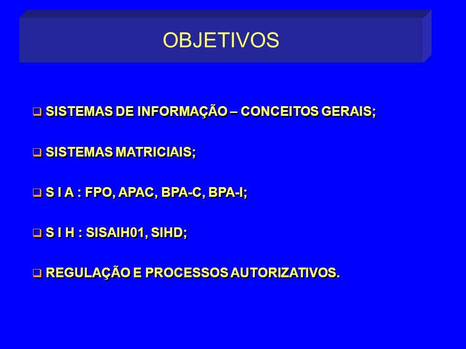 OBJETIVOS SISTEMAS DE INFORMAÇÃO – CONCEITOS GERAIS;