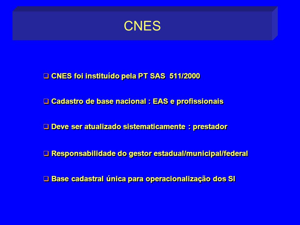CNES CNES foi instituído pela PT SAS 511/2000