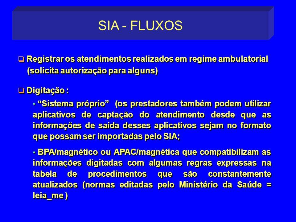 SIA - FLUXOS Registrar os atendimentos realizados em regime ambulatorial. (solicita autorização para alguns)