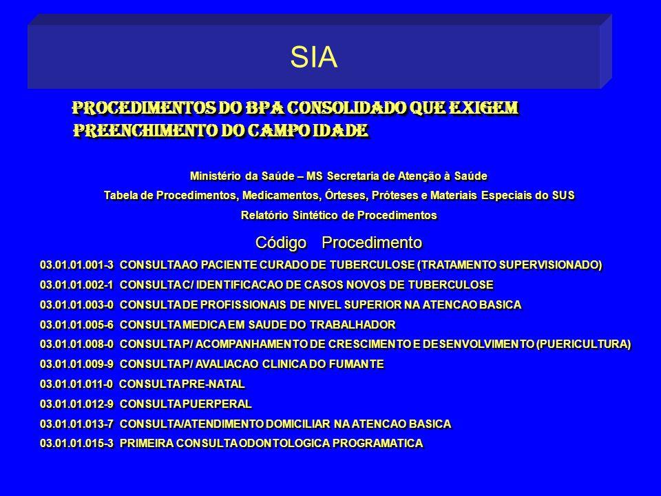 SIA Procedimentos do BPA consolidado que exigem