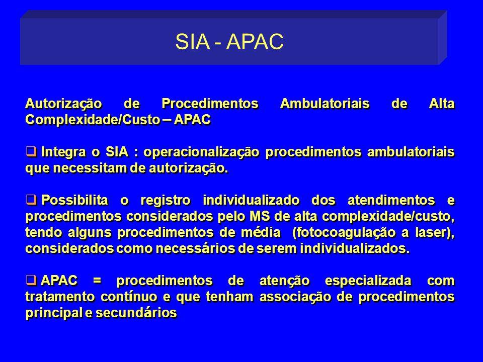 SIA - APACAutorização de Procedimentos Ambulatoriais de Alta Complexidade/Custo – APAC.