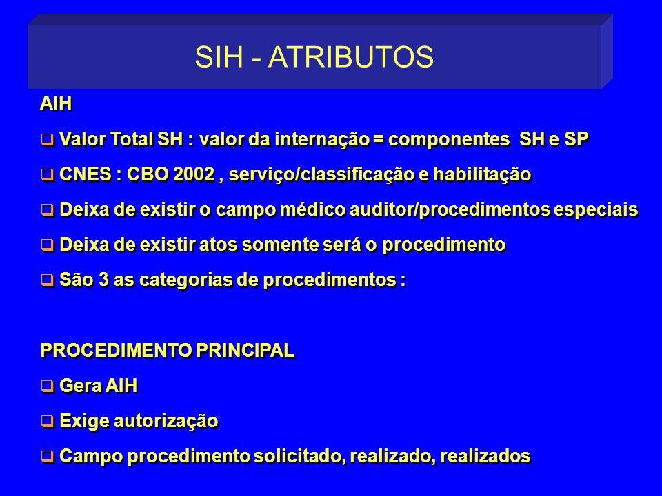 SIH - ATRIBUTOS AIH. Valor Total SH : valor da internação = componentes SH e SP. CNES : CBO 2002 , serviço/classificação e habilitação.