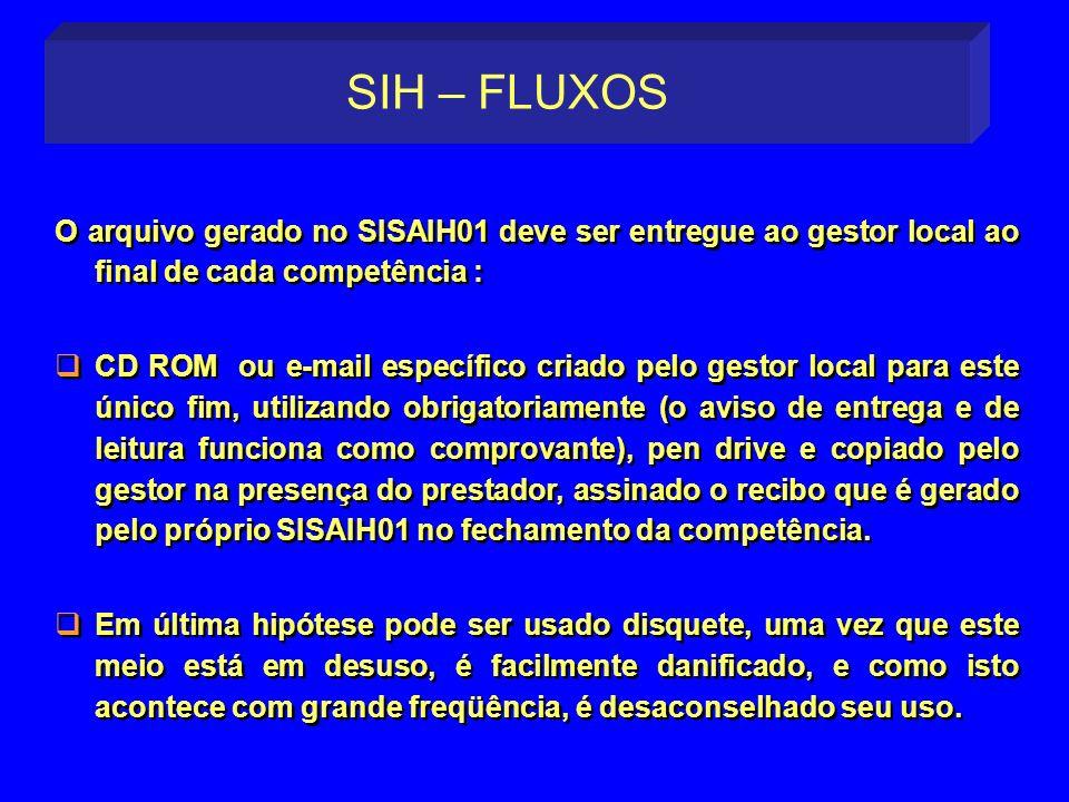 SIH – FLUXOS O arquivo gerado no SISAIH01 deve ser entregue ao gestor local ao final de cada competência :