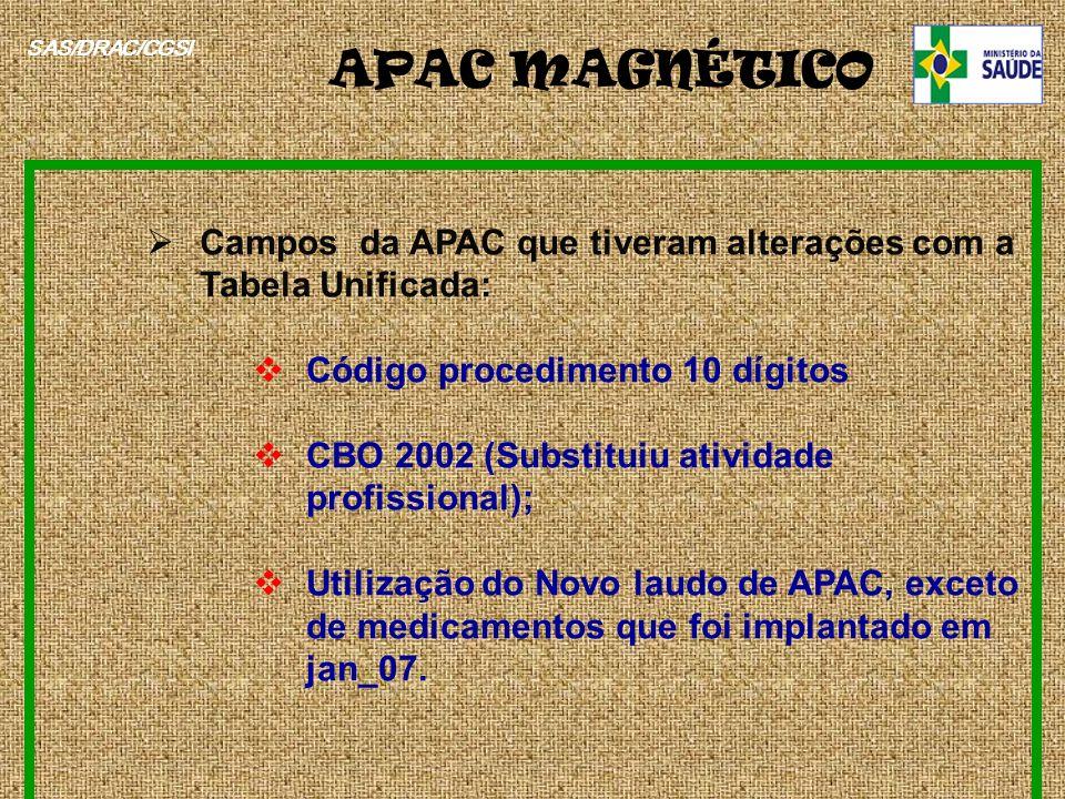 APAC MAGNÉTICO SAS/DRAC/CGSI. Campos da APAC que tiveram alterações com a Tabela Unificada: Código procedimento 10 dígitos.