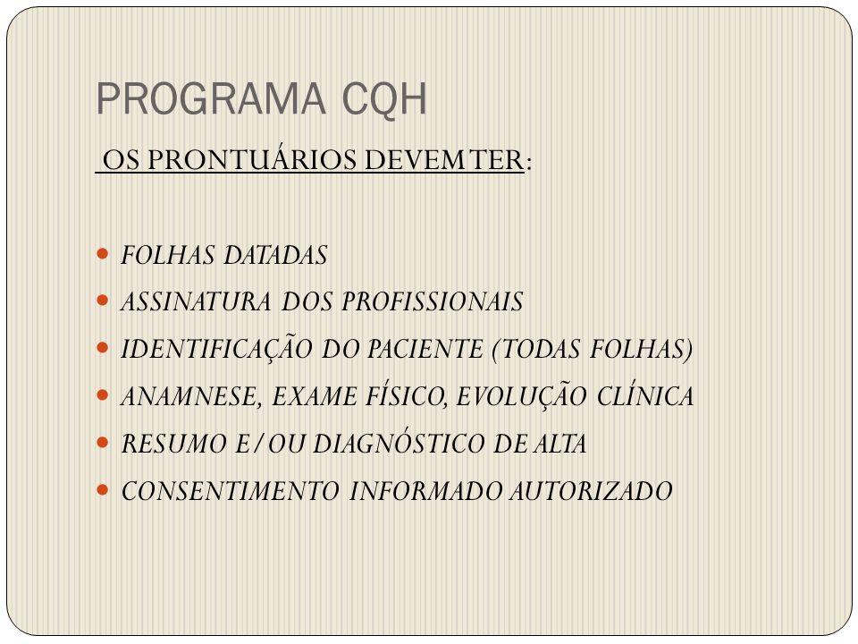 PROGRAMA CQH OS PRONTUÁRIOS DEVEM TER: FOLHAS DATADAS