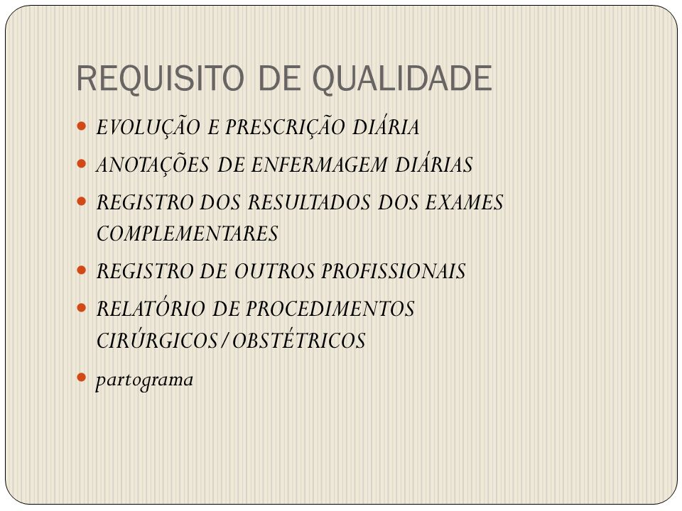 REQUISITO DE QUALIDADE