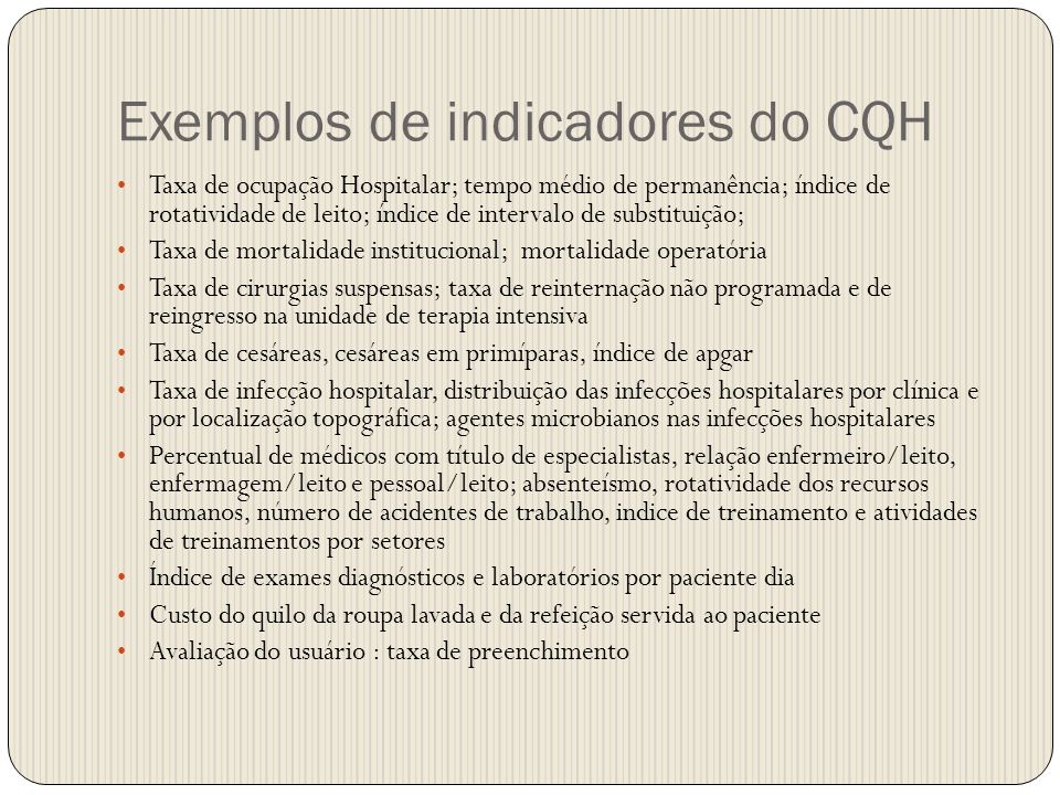 Exemplos de indicadores do CQH