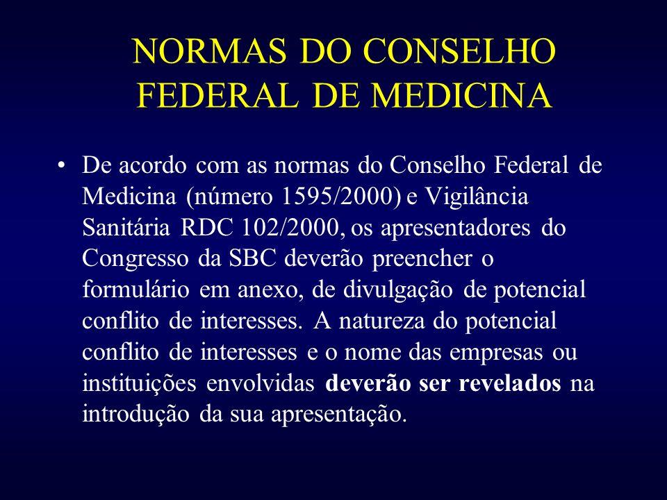 NORMAS DO CONSELHO FEDERAL DE MEDICINA