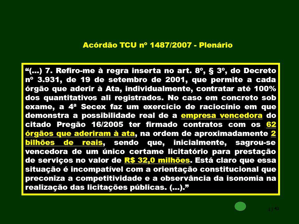 Acórdão TCU nº 1487/2007 - Plenário
