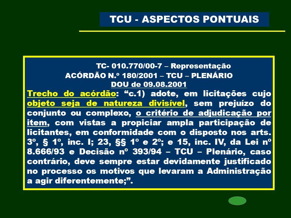 TC- 010.770/00-7 – Representação TCU - ASPECTOS PONTUAIS