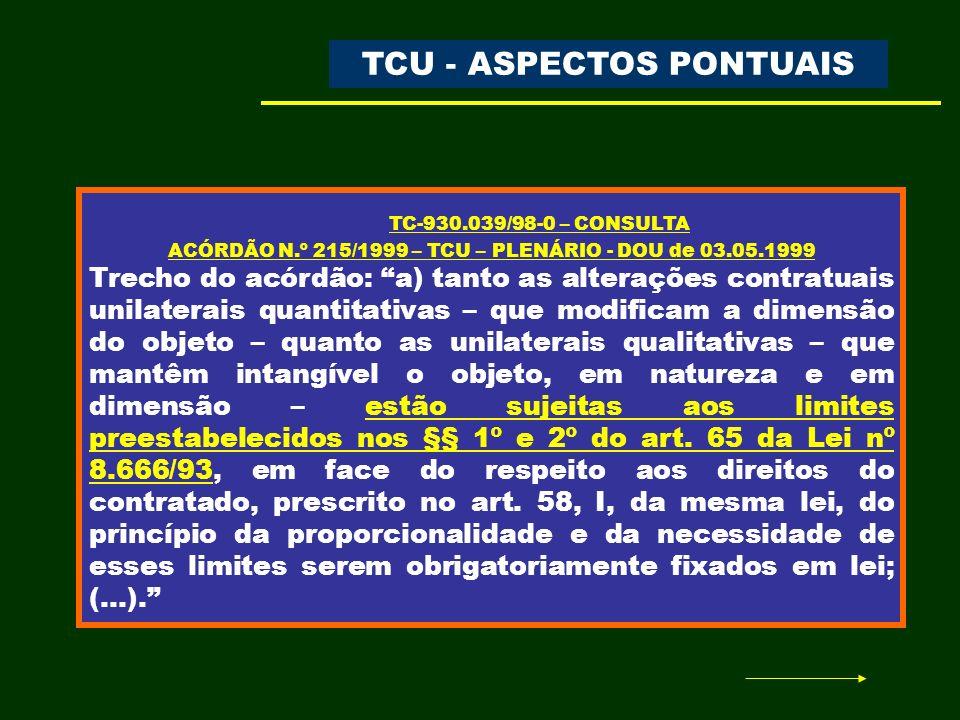 TC-930.039/98-0 – CONSULTA TCU - ASPECTOS PONTUAIS