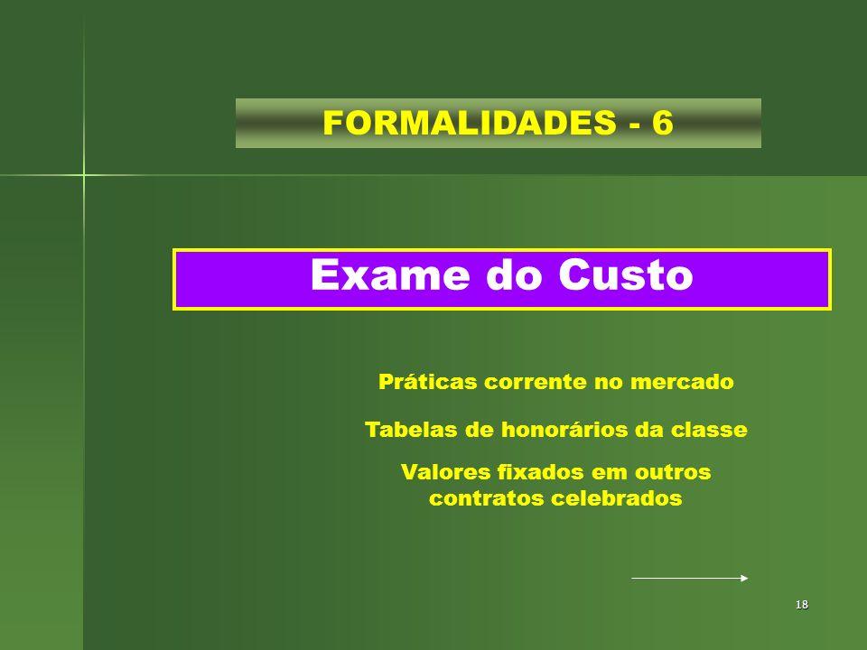 Exame do Custo FORMALIDADES - 6 Práticas corrente no mercado