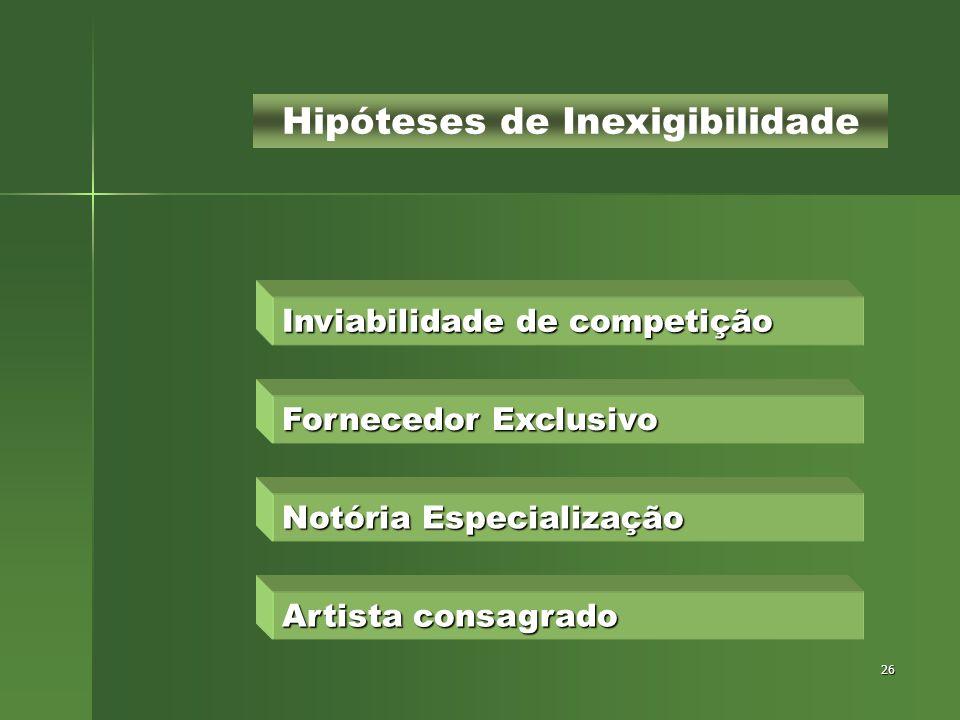 Hipóteses de Inexigibilidade