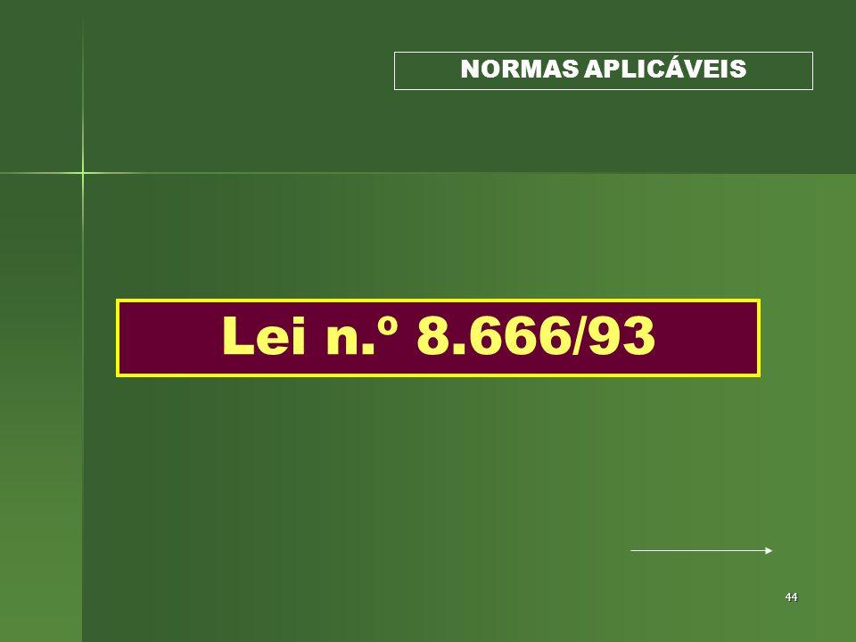 NORMAS APLICÁVEIS Lei n.º 8.666/93