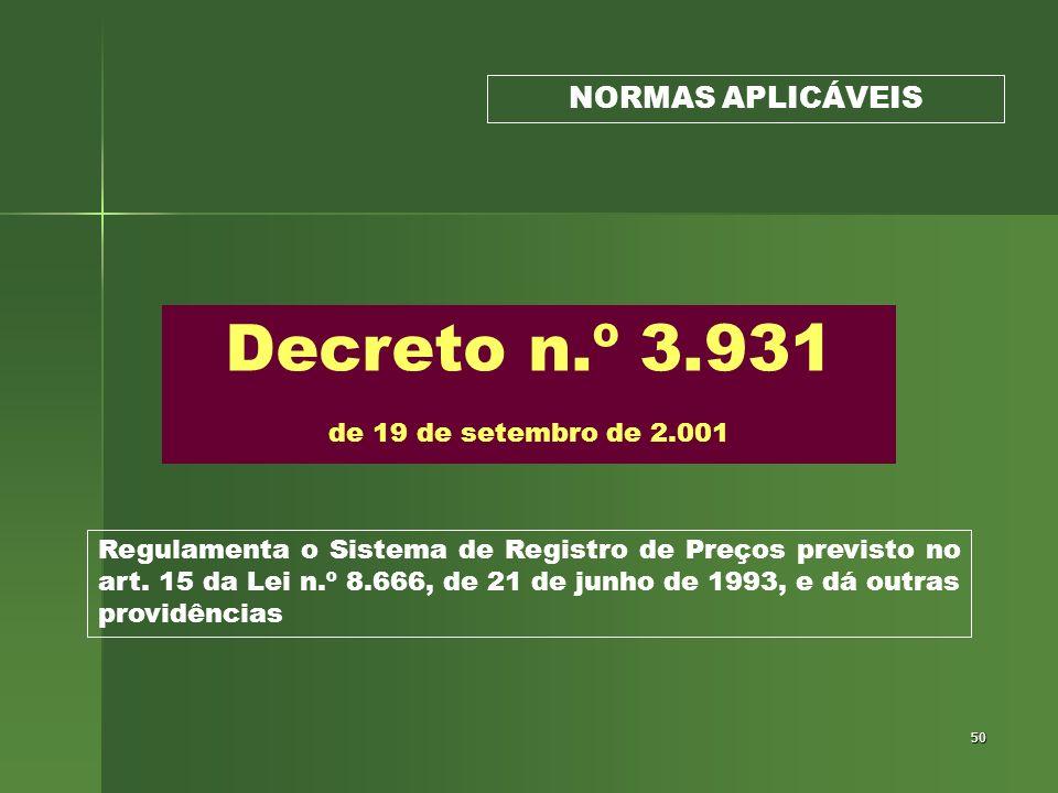 Decreto n.º 3.931 de 19 de setembro de 2.001