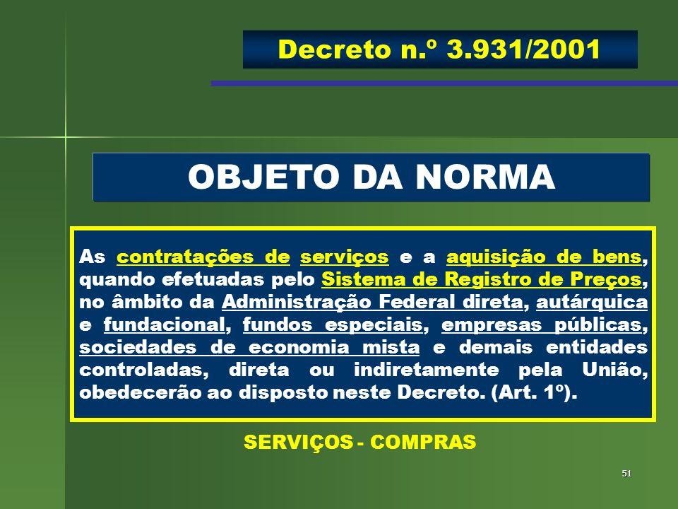 OBJETO DA NORMA Decreto n.º 3.931/2001
