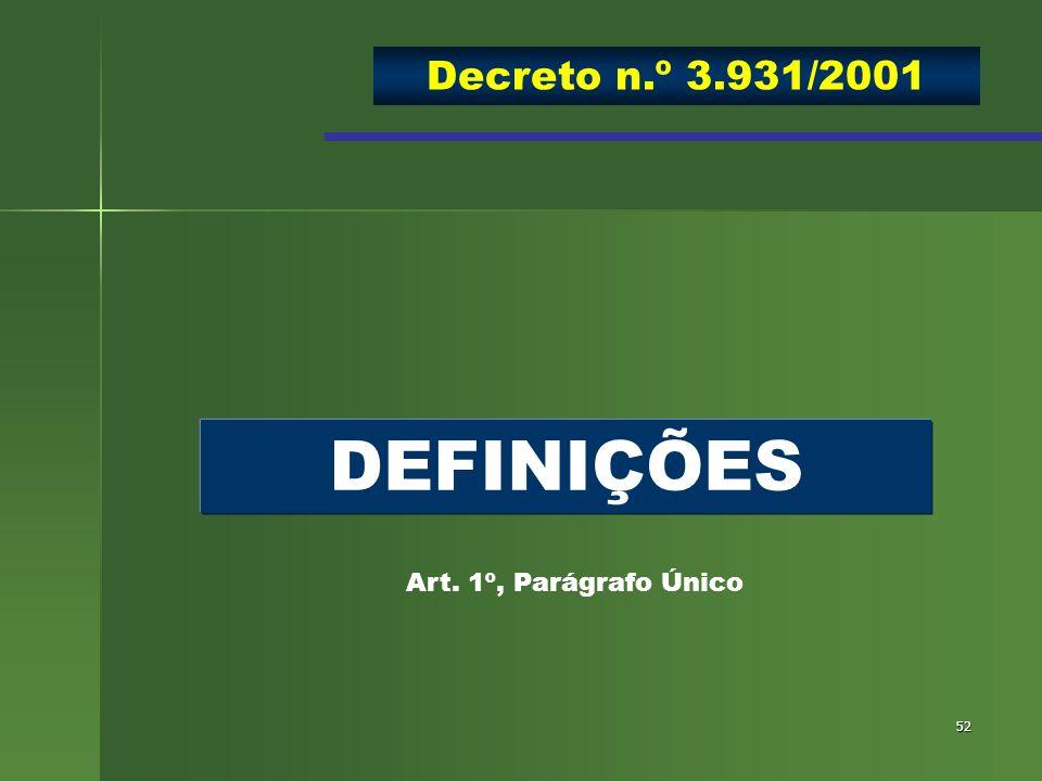 Decreto n.º 3.931/2001 DEFINIÇÕES Art. 1º, Parágrafo Único