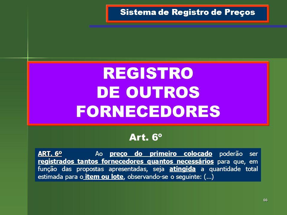 Sistema de Registro de Preços REGISTRO DE OUTROS FORNECEDORES
