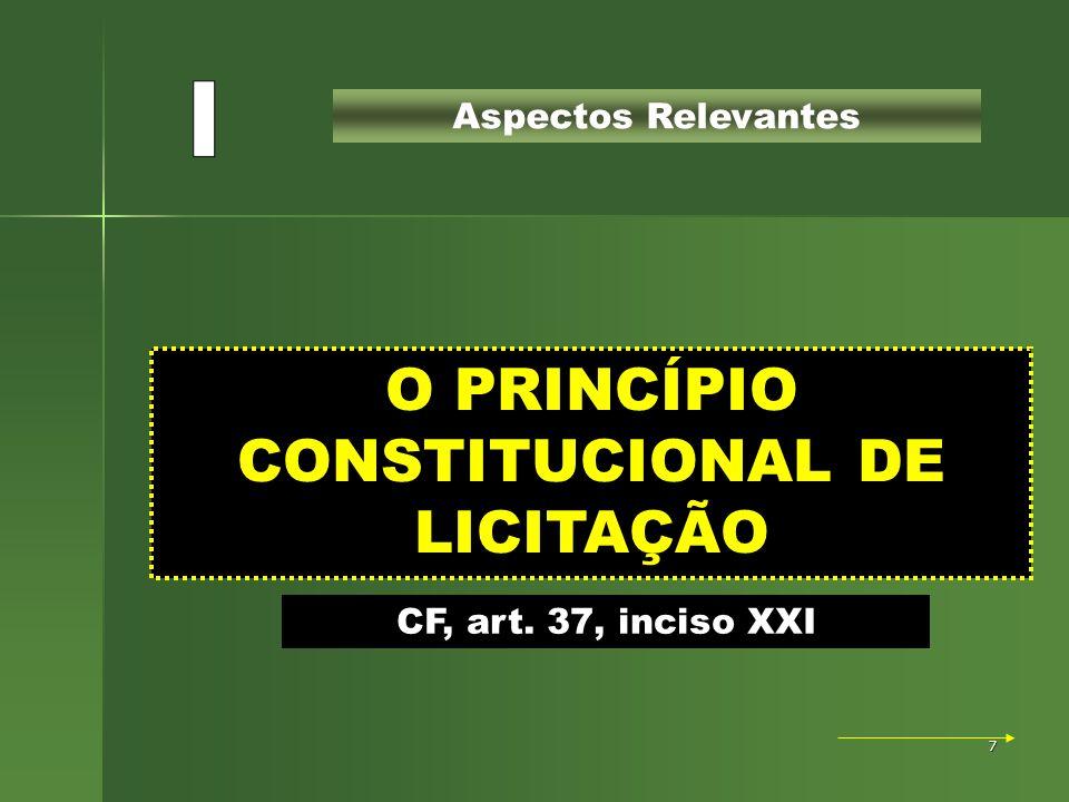 O PRINCÍPIO CONSTITUCIONAL DE LICITAÇÃO