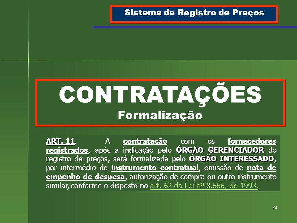 Sistema de Registro de Preços CONTRATAÇÕES Formalização