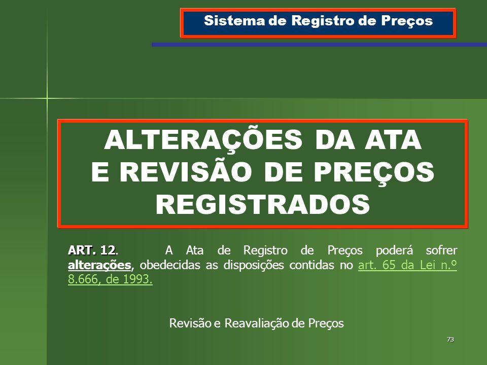 ALTERAÇÕES DA ATA E REVISÃO DE PREÇOS REGISTRADOS