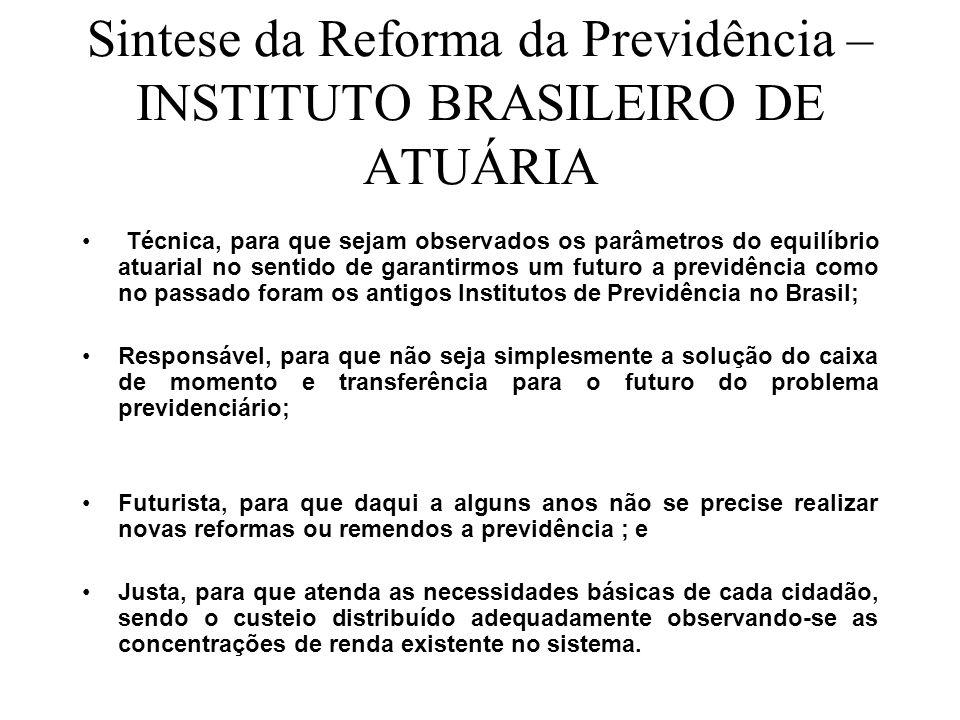 Sintese da Reforma da Previdência – INSTITUTO BRASILEIRO DE ATUÁRIA