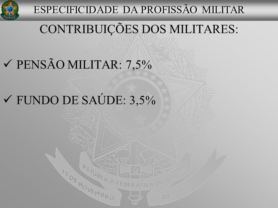 CONTRIBUIÇÕES DOS MILITARES: PENSÃO MILITAR: 7,5% FUNDO DE SAÚDE: 3,5%