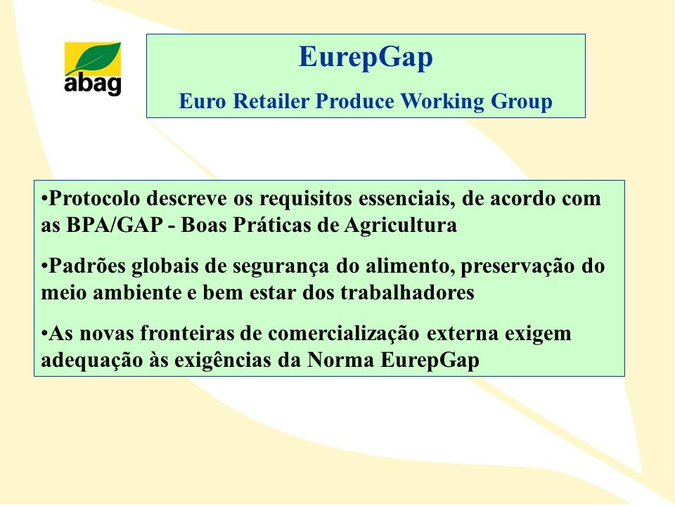 Euro Retailer Produce Working Group