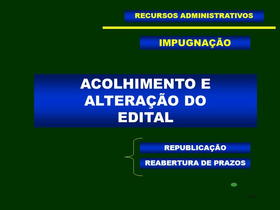 ACOLHIMENTO E ALTERAÇÃO DO EDITAL