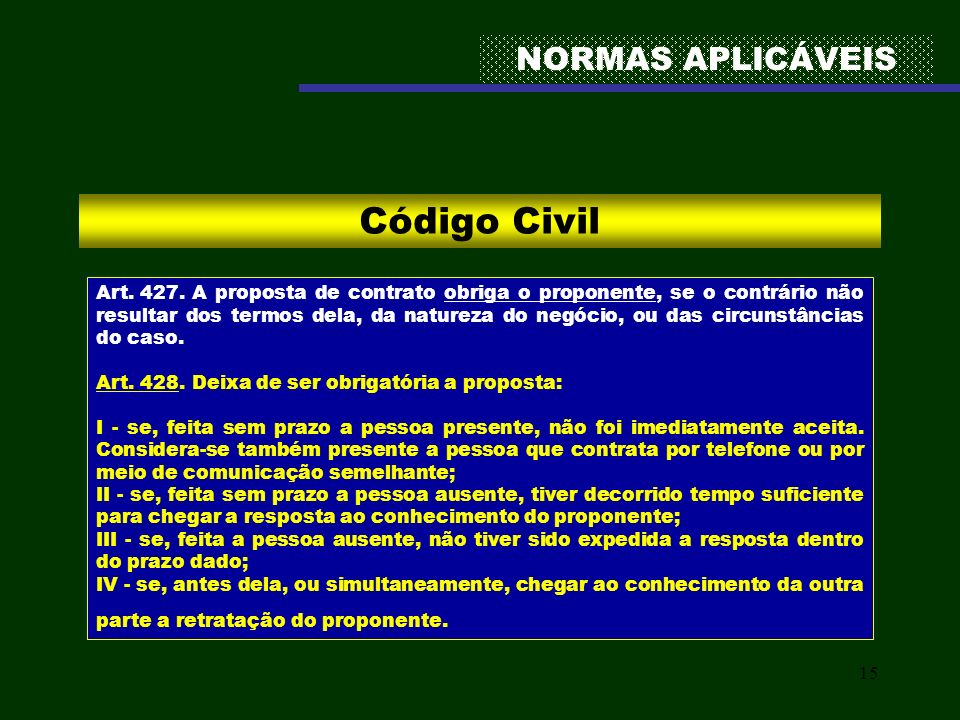 Código Civil NORMAS APLICÁVEIS