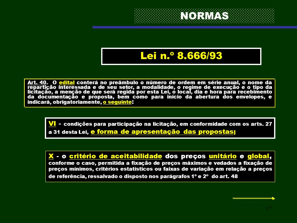 NORMAS Lei n.º 8.666/93.