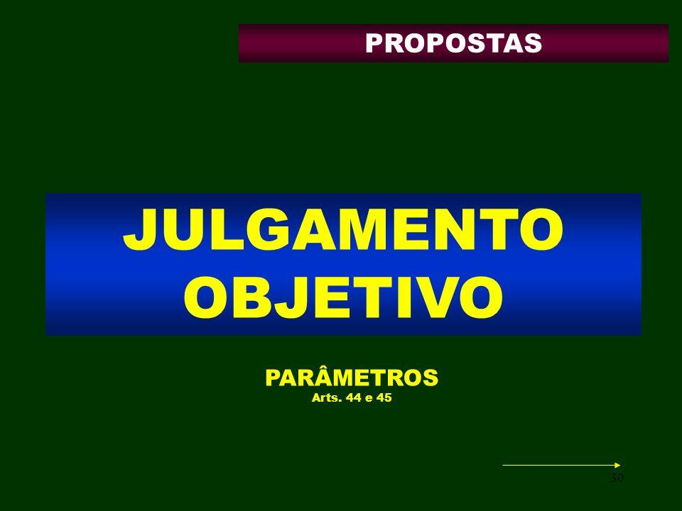 PROPOSTAS JULGAMENTO OBJETIVO PARÂMETROS Arts. 44 e 45