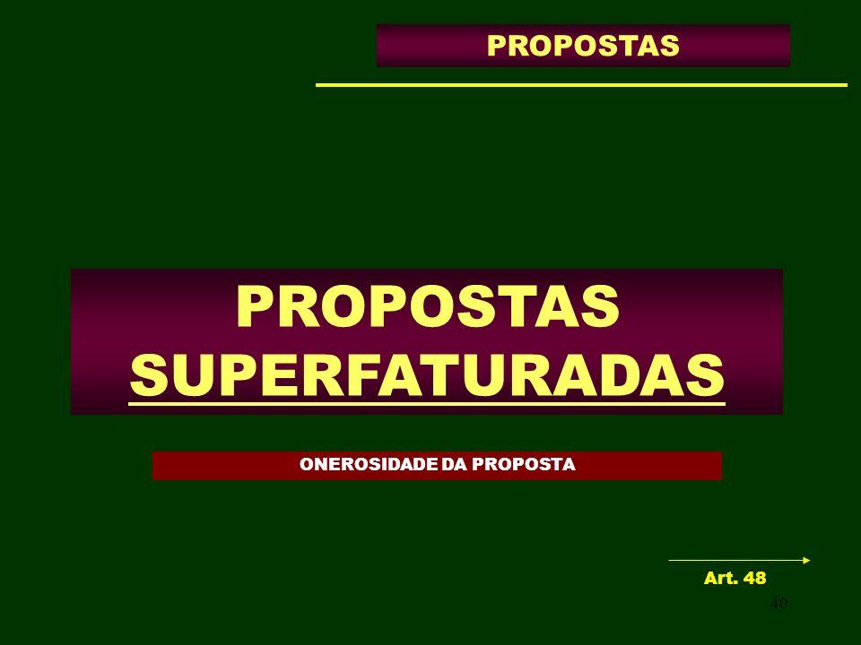 ONEROSIDADE DA PROPOSTA