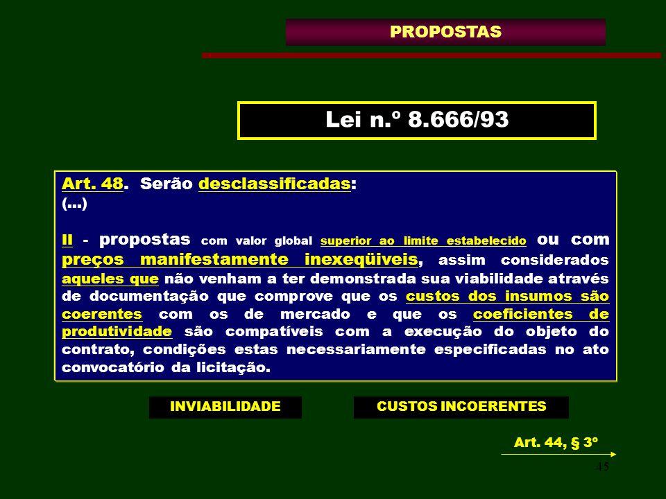 Lei n.º 8.666/93 PROPOSTAS Art. 48. Serão desclassificadas: (...)