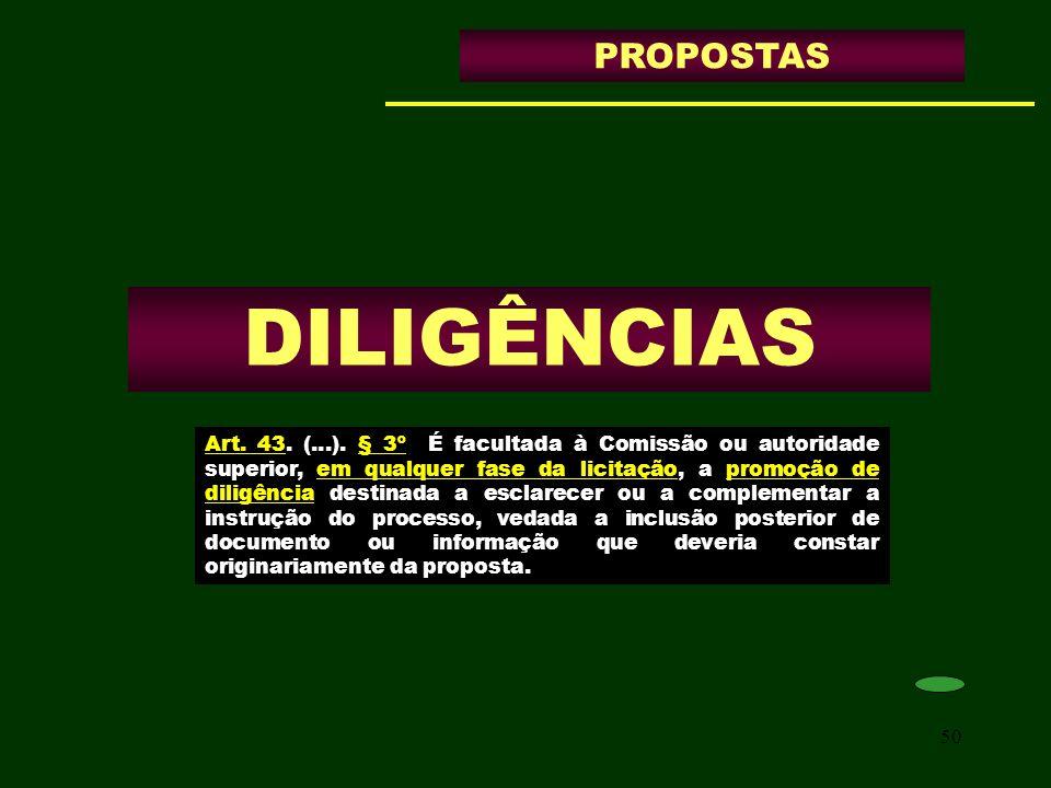 DILIGÊNCIAS PROPOSTAS
