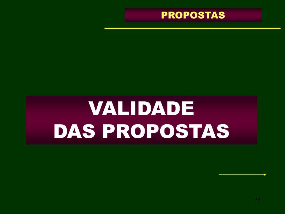 VALIDADE DAS PROPOSTAS