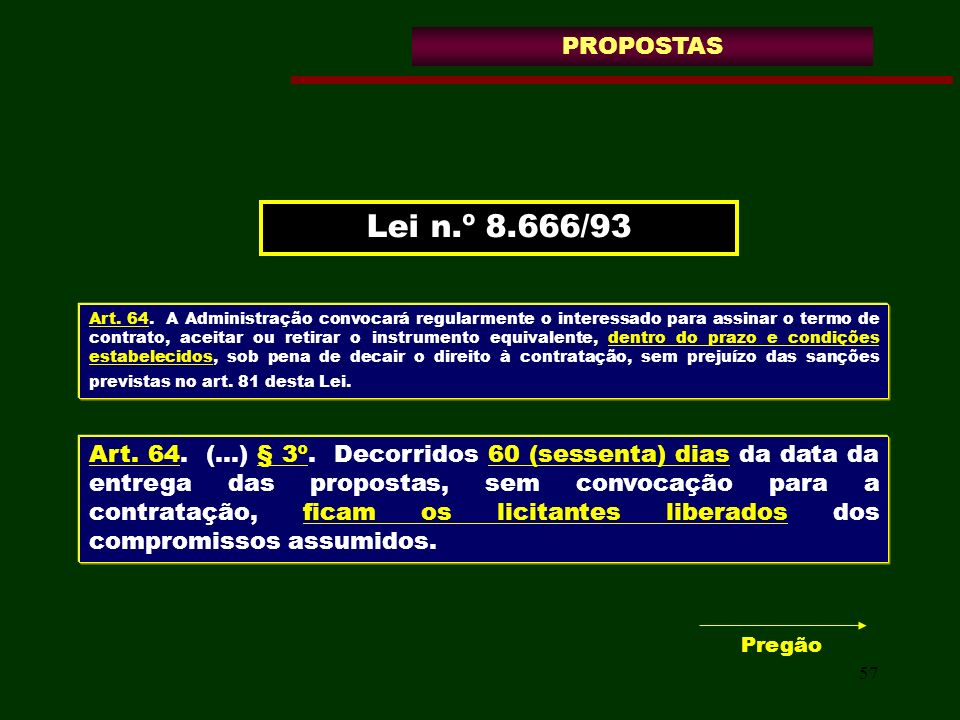 PROPOSTAS Lei n.º 8.666/93.