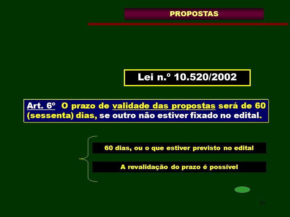 PROPOSTAS Lei n.º 10.520/2002. Art. 6º O prazo de validade das propostas será de 60 (sessenta) dias, se outro não estiver fixado no edital.
