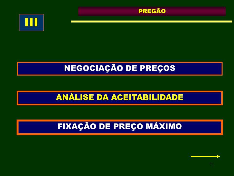 III NEGOCIAÇÃO DE PREÇOS ANÁLISE DA ACEITABILIDADE