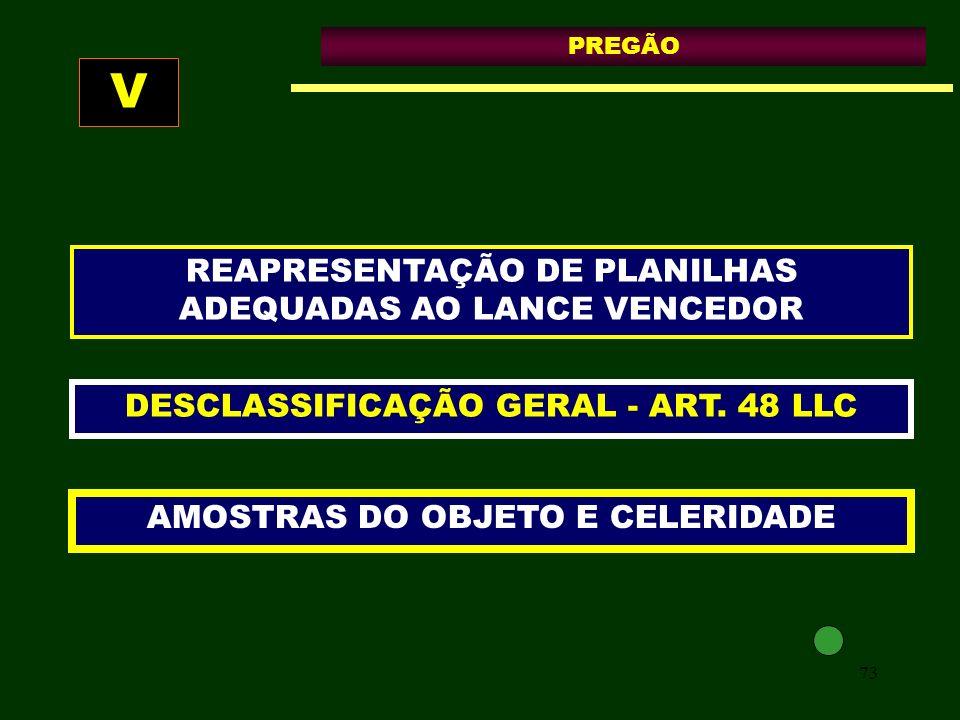 V REAPRESENTAÇÃO DE PLANILHAS ADEQUADAS AO LANCE VENCEDOR