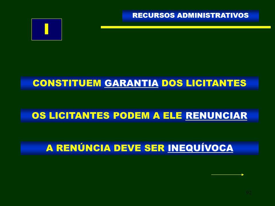 I CONSTITUEM GARANTIA DOS LICITANTES
