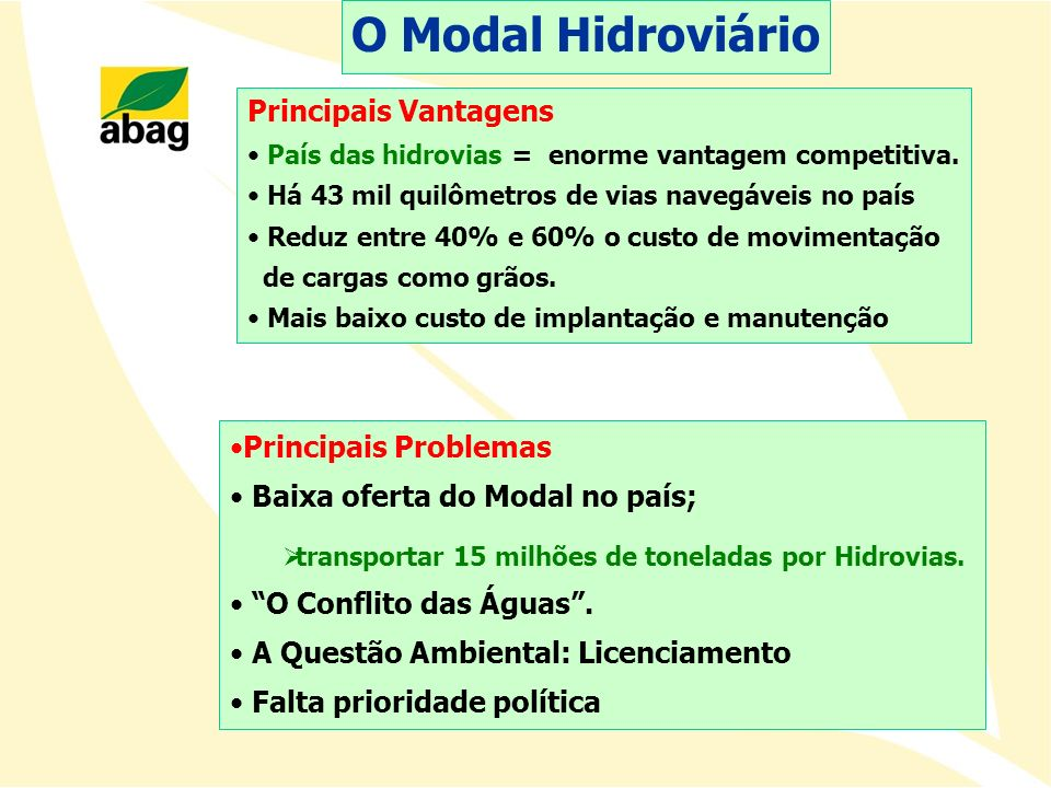 O Modal Hidroviário Principais Vantagens Principais Problemas