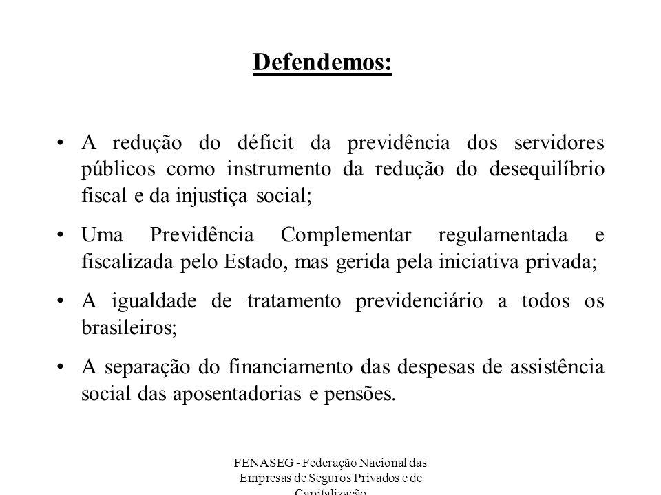 Defendemos: A redução do déficit da previdência dos servidores públicos como instrumento da redução do desequilíbrio fiscal e da injustiça social;