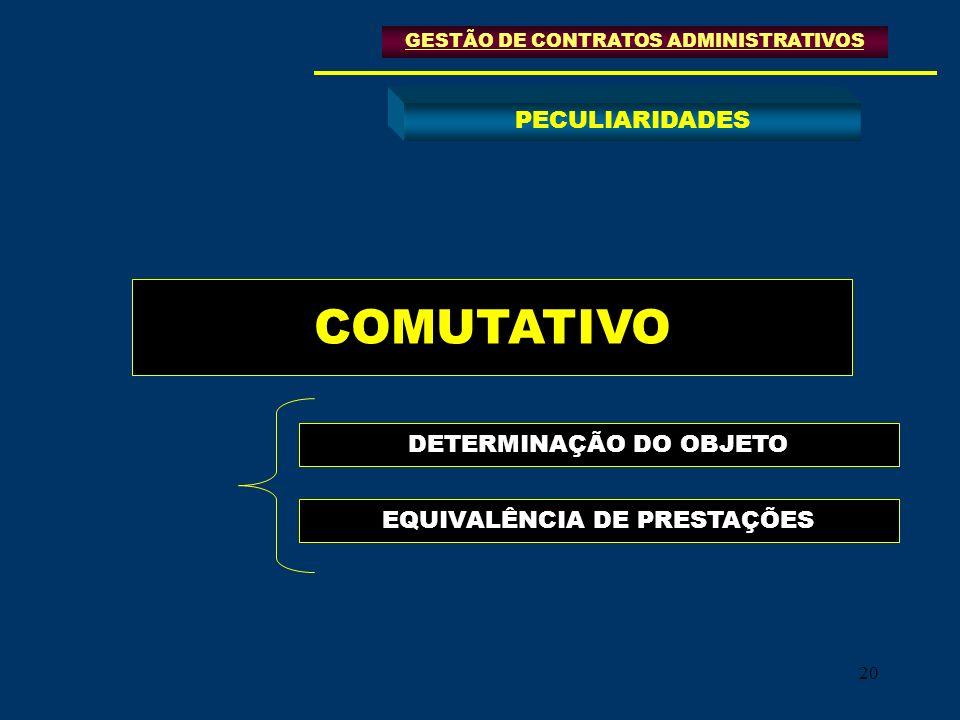 COMUTATIVO PECULIARIDADES DETERMINAÇÃO DO OBJETO