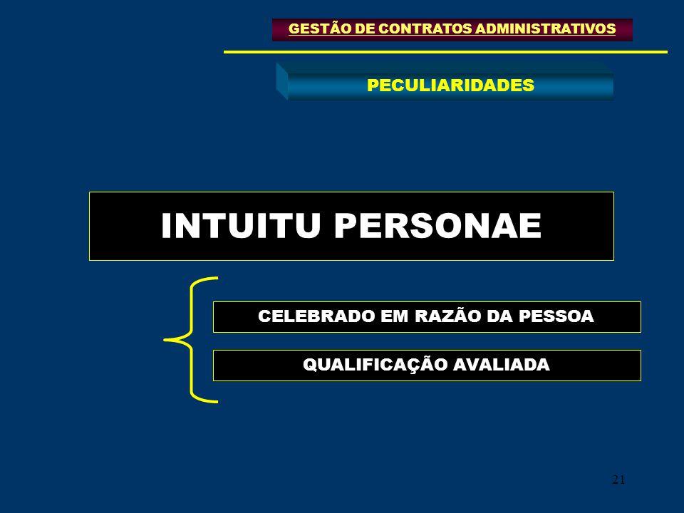 INTUITU PERSONAE PECULIARIDADES CELEBRADO EM RAZÃO DA PESSOA