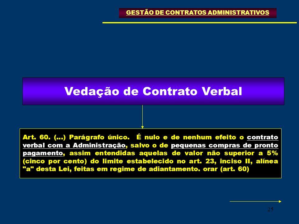 Vedação de Contrato Verbal