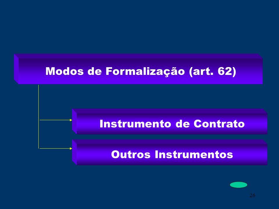 Modos de Formalização (art. 62) Instrumento de Contrato