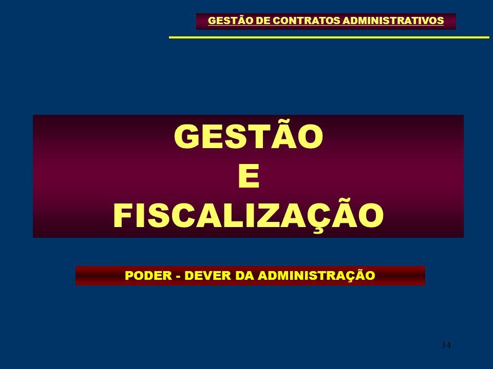 GESTÃO E FISCALIZAÇÃO PODER - DEVER DA ADMINISTRAÇÃO